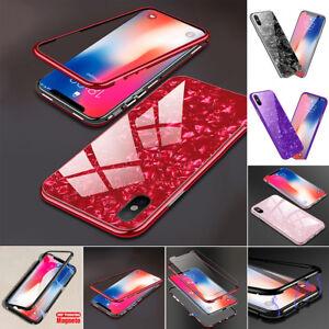 FUNDA-CARCASA-Marco-de-metal-magnetico-Vidrio-templado-para-Apple-iPhone-6-7-8-X