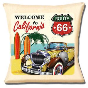 Vintage Car VC3 Retro Classic Automobile Pillow Cover California Route 66 USA