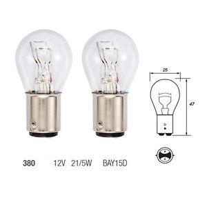 2 x 380 P21/5W BAY15D Brake Stop & Tail Light Car Bulbs 12v 21/5w Twin Filament