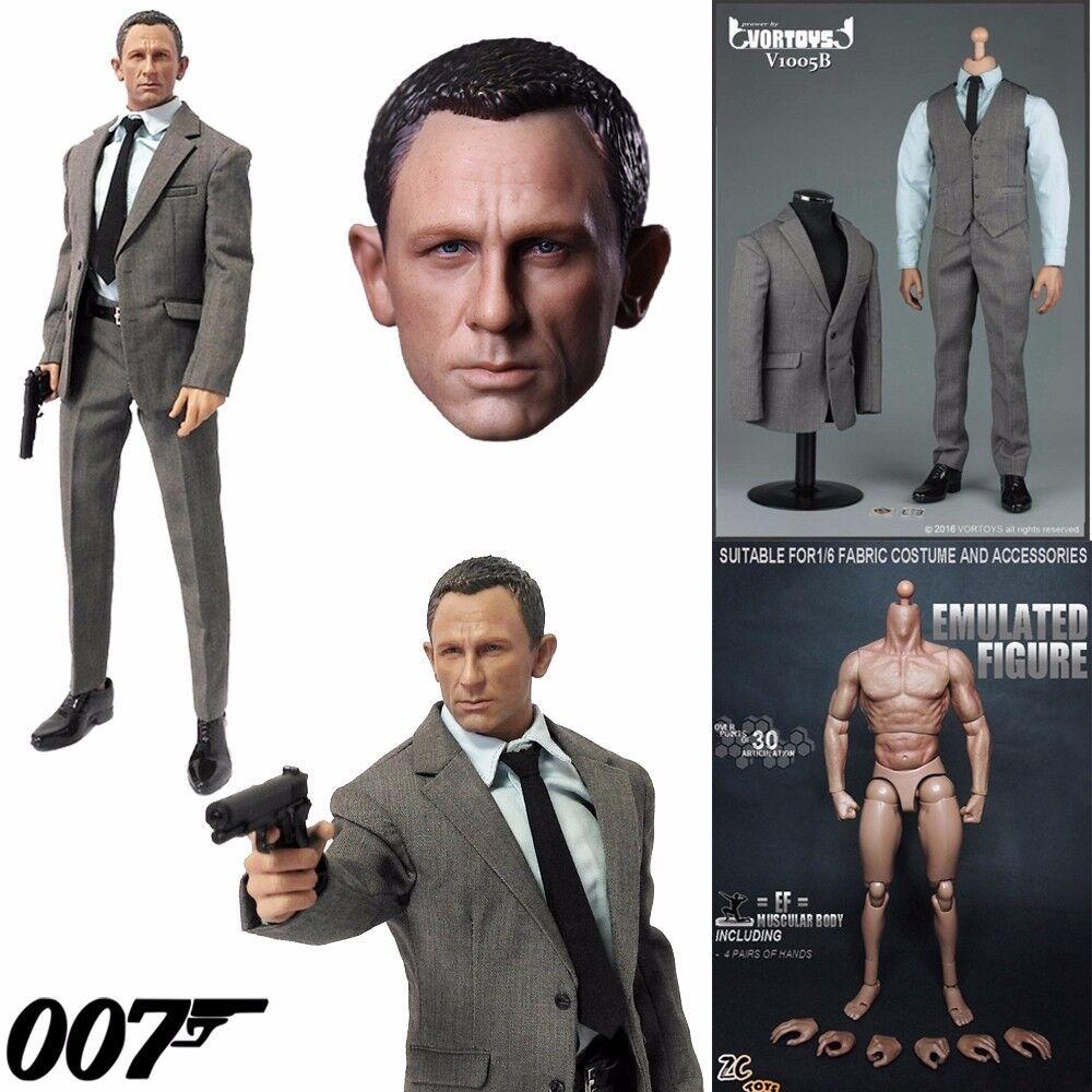 1 6 Scale James Bond 007 Agent Head Sculpt+Clothes Set+Figure Body 12  Hot Toys