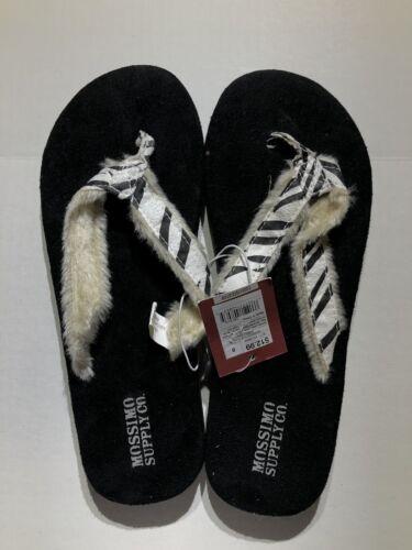 Mossimo Women/'s Flip Flops Fur Trim Zebra Print Size 8 NWT!