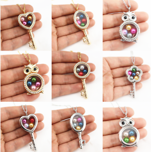 Silver-Gold-Color-Key-Owl-Floating-Beads-Cage-Glass-Locket-Necklace-20-034