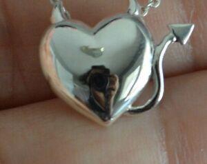 925-Sterling-Silver-Devil-Heart-Pendant-Horns-Devil-Heart-Charm-Pendant-ONLY