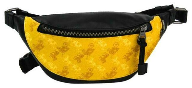 Coach Horse And Carriage Warren Belt Bag F83411 Leather Coated Canvas Yellow