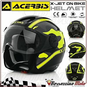 NUOVO-CASCO-JET-ACERBIS-X-JET-ON-BIKE-CAMO-NERO-GIALLO-MOTO-SCOOTER-TG-XL-61-62