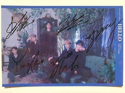 Signed Photo TXT ALL5 Autograph Taehyun Yeonjun Beomgyu Soobin Hueningkai