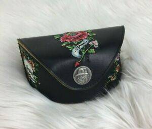 Ed-Hardy-Embroidered-Roses-Flowers-Black-Leather-Sunglass-Eyeglass-Case-Only