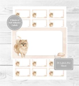 Fun Gift Tags 42 Self Adhesive Multi Purpose StickersBlank Sticky Labels 21 Per Sheet Pomeranian Dog Sticker Sheets