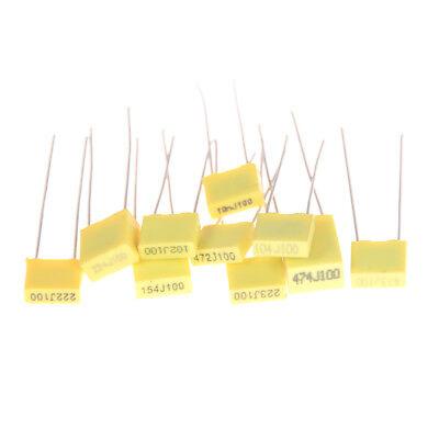 50Pcs 10 Value 1nF-0.47uF Set Polypropylene Safety Plastic Film Capacitor Kitcb