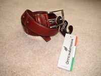 Officina Artigiana Men's Brown Leather Belt 085/35 Made In Italy Sz 36 Cm 90