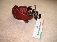 Officina Artigiana Men's Brown Leather Belt 085/35 Made In Italy Sz 36 Cm 90