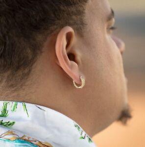 Image Is Loading Men 039 S Hip Hop Gold Diamond Hoop