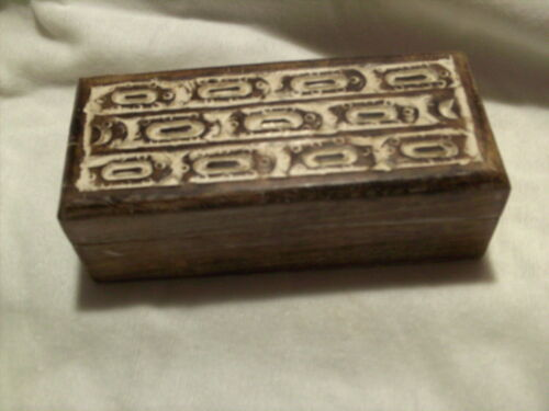 Carved /& White-washed  Wooden Box   7 x 3 inches