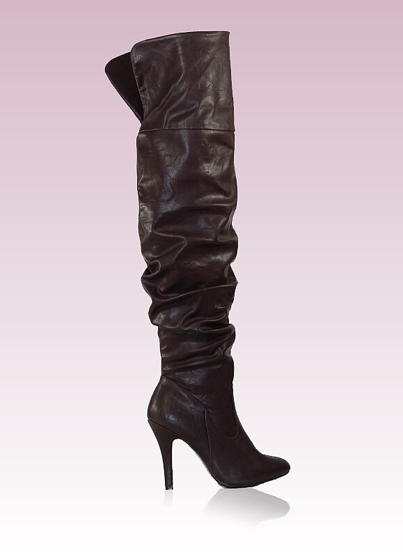 focus-33 Fashion Over Knee Casual Party 4 Inch High Heel Women Boots Brown 6
