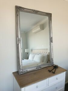 Large French Provincial Baroque Antique Silver Beveled Wall Mirror 132cm X 92cm Ebay