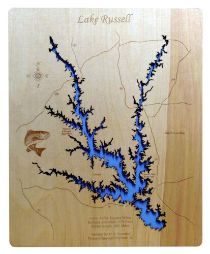 Georgia Wood Laser Cut Map of Lake Russell