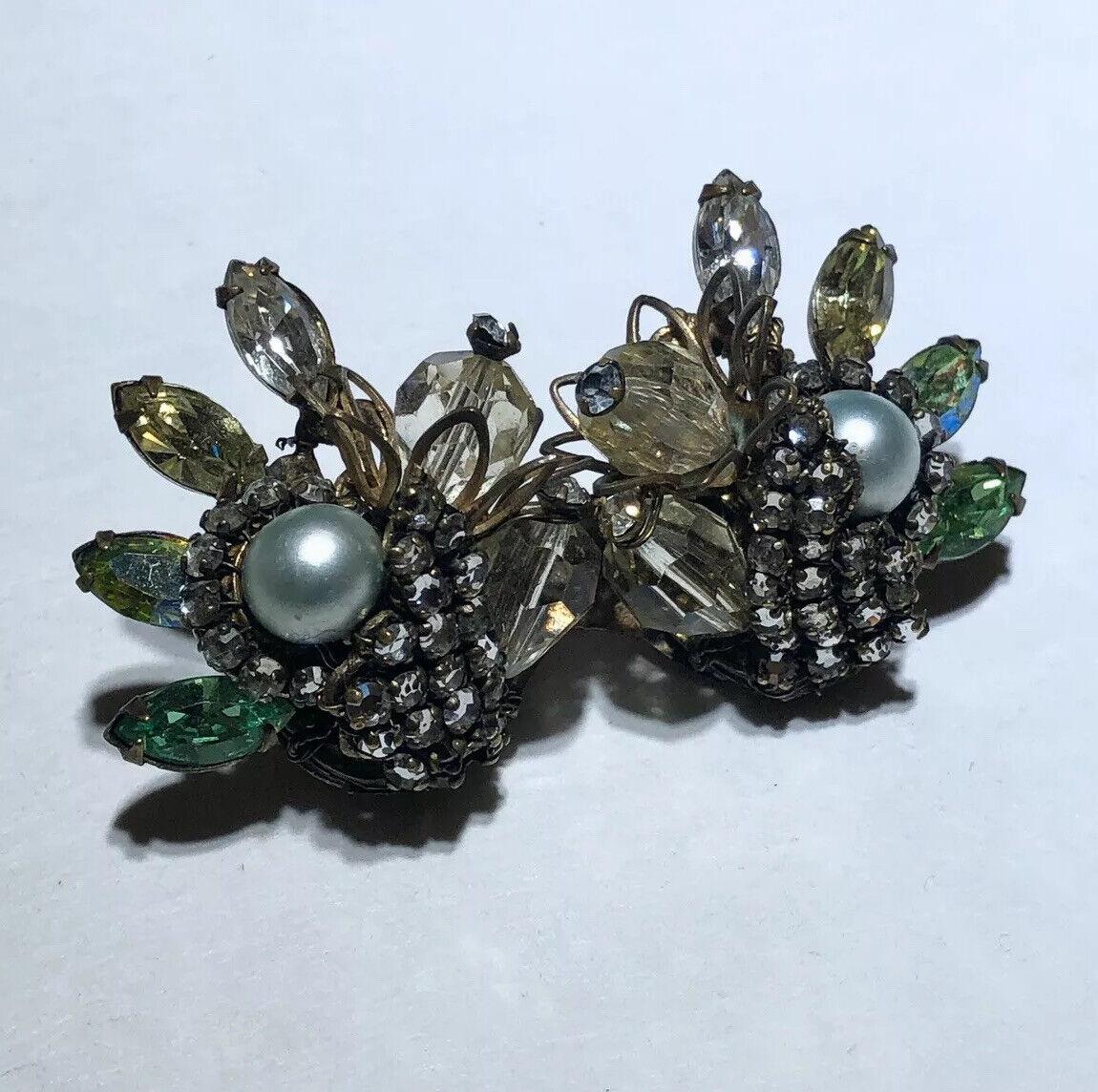 Vintage glass rhinestone crystal pearl filigree h… - image 4