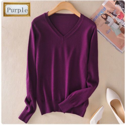 New Women/'s V-neck Cashmere Sweater Short Pullover Slim Wool Knitted Sweaters