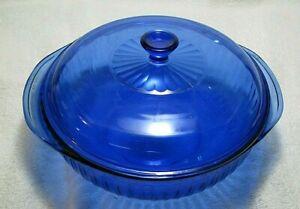 PYREX COBALT BLUE GLASS 2 QT RIBBED CASSEROLE WITH LID | eBay