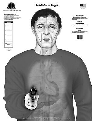 """armed Threat"" Self Defense Anatomy (25) Paper Shooting Targets Grayscale Helder In Kleur"