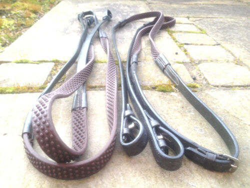 """56/"""" BROWN HERITAGE 100/% ENGLISH MADE FULL HORSE SIZE FLEXI BIO GRIP RUBBER REINS"""