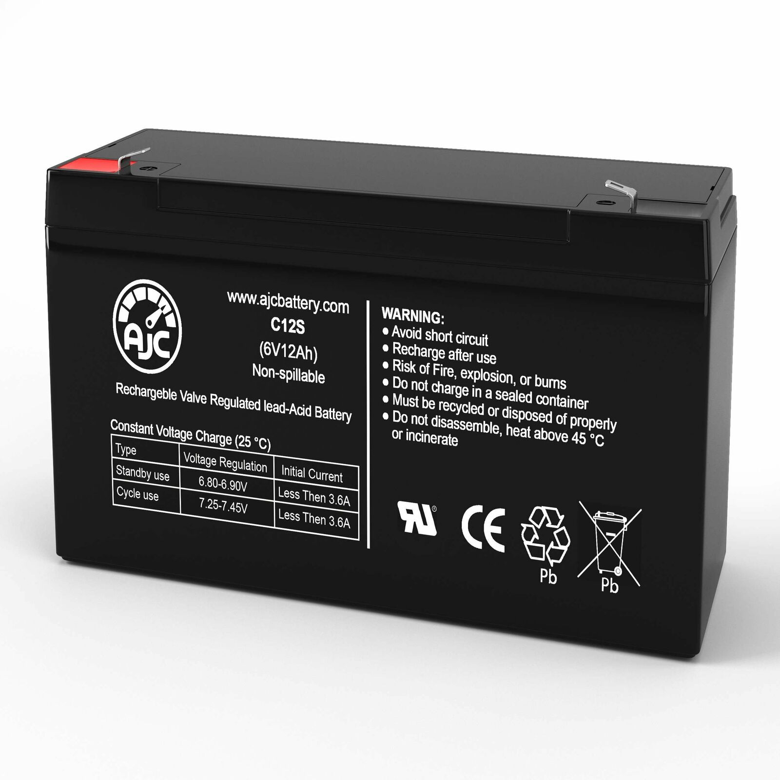 Power-Sonic PS6100F1 6V 12Ah Sealed Lead Acid Replacement Battery
