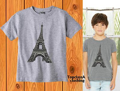 Eiffel Tower Slogan France French City Tourist Tourism City Kids T shirt