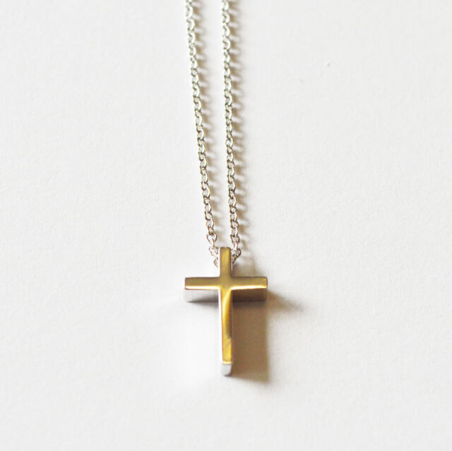 New Silver Cross Pendant Cute Ladies Necklace Small 16-18 In.