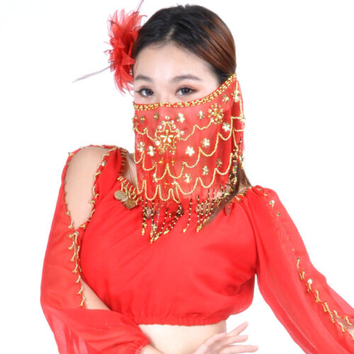New Belly Dance Veil Sequins voile Wrap handmade 9 colours