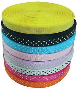 Polka Dot Grosgrain Ribbon 12pcs , end of roll, each piece minimum length 1 yard