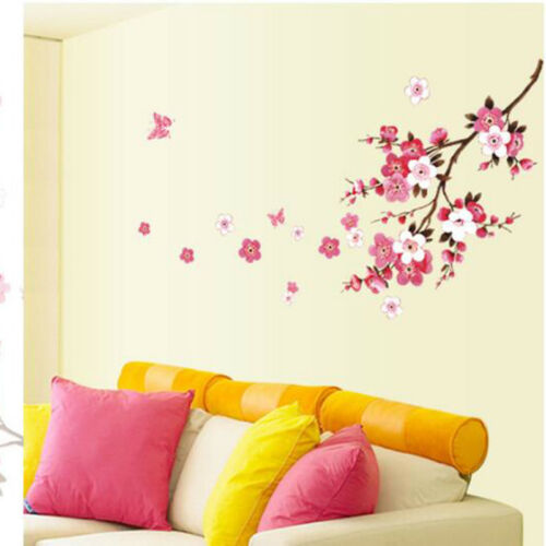 PVC Large Peach Blossom Flower Butterfly Wall Stickers Art Decal Home Room Decor