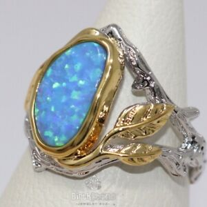 Sparkling-Blue-Opal-Ring-Women-Wedding-Jewelry-Gift-14K-White-Gold-Plated