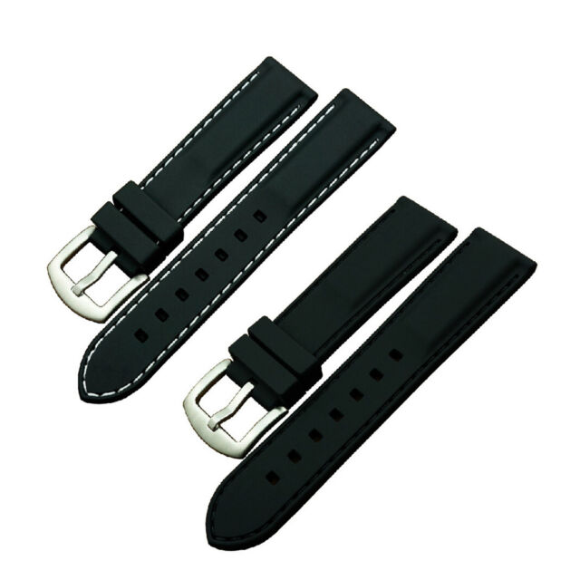 New 20 ~ 24mm Silicone Watch Band Wrist Rubber Mens Strap Sport Diver Waterproof