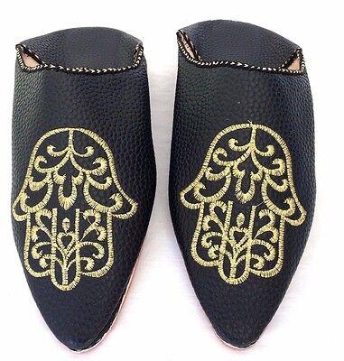 Babouche Marocaine frau leder schuh flach slipper bestickt pantoffel schwarz 2
