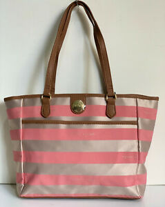 NEW-TOMMY-HILFIGER-CORAL-PINK-BROWN-MEDIUM-SATCHEL-SHOPPER-TOTE-BAG-PURSE-89