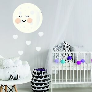 Kawaii Moon And Hearts Childrens Kids Bedroom Wall Sticker Vinyl