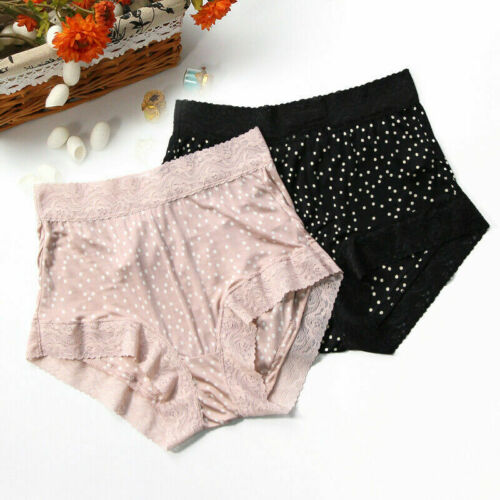 Lady High Waist Full Briefs Silk Lace Spotted Panty Underwear Lingerie Cosy Soft