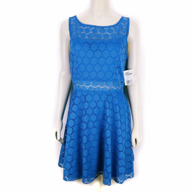 40feb71a7 Trixxi Royal Junior Skater Crochet Empire Waist Dress Blue Juniors Size 3  NEW