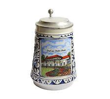 Gerz beer mug - RARE vintage German blue stoneware pewter beer tankard stein