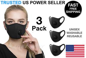 3 Pack Black Face Mask Stretch Sponge Valve Cover Lightweight Reusable Unisex