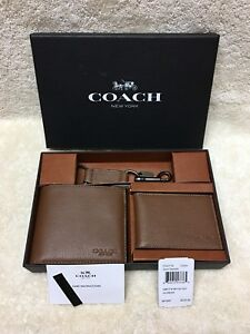 b92ab1d80a44f NEW Authentic Coach Men s Compact ID Calf Leather Wallet Gift Set ...