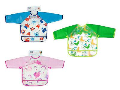 Kids Long Sleeve Feeding Bib Waterproof Coverall Art Craft Paint Play Apron New
