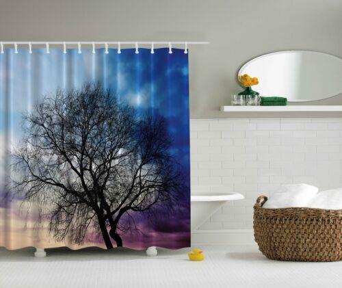 Photo Black Tree Blue Sunset Nature Fabric Shower Curtain Digital Art Bathroom