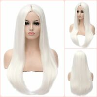 Beautiful Straight Long White Hair Wigs Heat Resistant Synthectic 24-inch Women