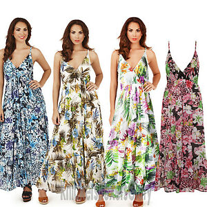 4464e770e3 Details about Ladies Floral/Tropical Strappy Sleeveless Maxi Summer Beach  Dress Size 8 - 22