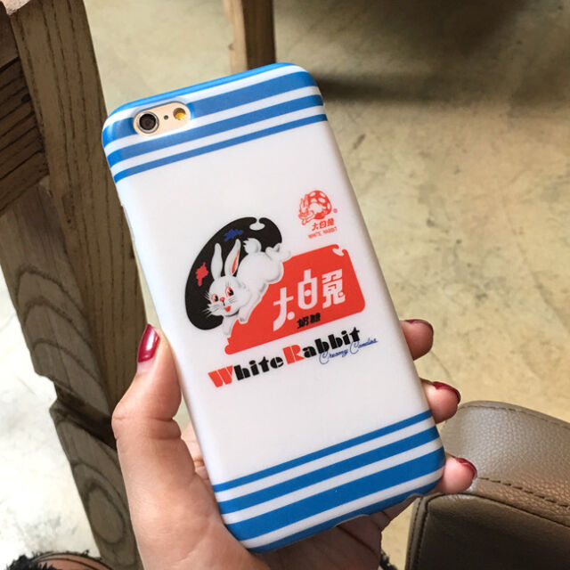 White Bunny Milky Wrapper Style For iPhone 6 6S Plus Soft Case Cute Candy lovers