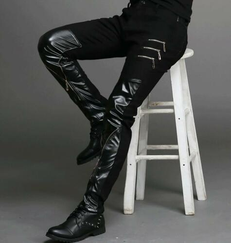 Black Punk Mens Rock Band Faux Leather Zipper Motorcycle Casual Pants Trousers
