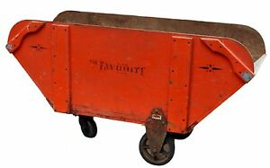 Vintage 1930s Livestock Feed Truck Cart Wagon Orig Paint Wooden Cast