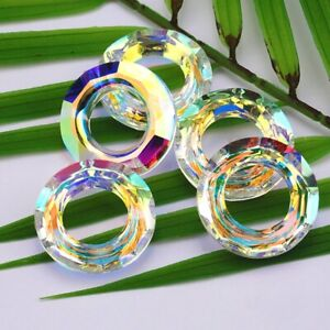 2pcs 30mm crystal glass beads crystal AB Round Loose beads Cosmic Rings