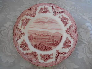 Collectible-JOHNSON-BROTHERS-Red-Pink-Chatsworth-Castle-Plate-Made-in-England